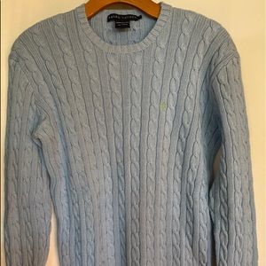 Ralph Lauren Light Blue Cable Knit Sweater Medium